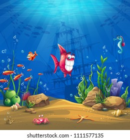 Undersea world with fish. Marine Life Landscape - the ocean and the underwater world with different inhabitants. For design websites and mobile phones, printing.