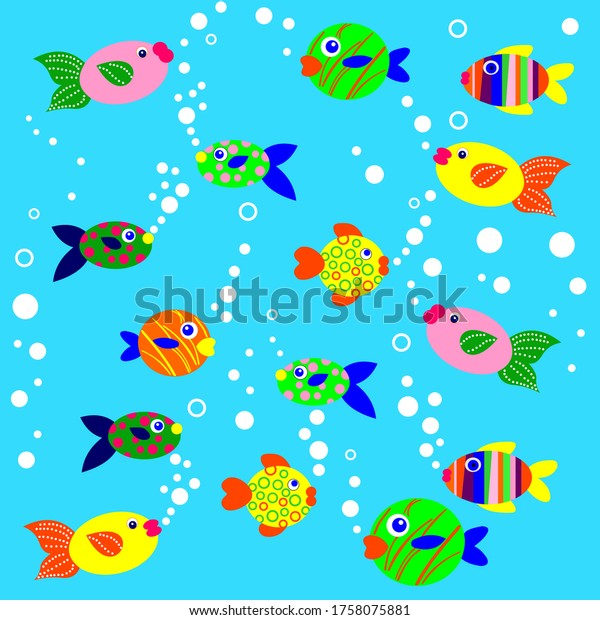 Undersea world. Fish. Sea inhabitants. Vector illustration. Fish in the aquarium.