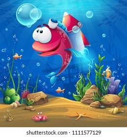 Undersea world with funny fish. Marine Life Landscape - the ocean and the underwater world with different inhabitants. For design websites and mobile phones, printing.
