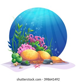 Undersea world. Marine flora on the sandy bottom of the ocean. For design websites and mobile phones, printing. Vector illustration