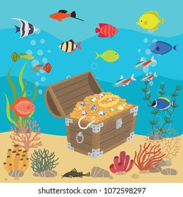 Undersea world with opened wooden chest with treasures. Marine life landscape - the ocean and the underwater world with different inhabitants.