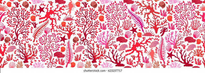 Undersea world. Seamless vector pattern with corals and fantasy plants. Wide panoramic composition for fashion and interior design.