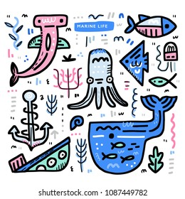 Undersea world theme concept. Octopus, moray, whale, sunken ship and other marine elements. Vector nautical design.