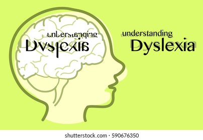 Understanding dyslexia, See how a dyslexic sees, vector illustration.