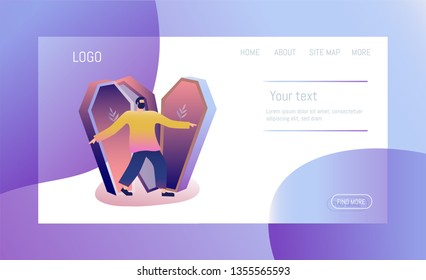Undertaker. Template for website design, web page. Flat Vector Illustration