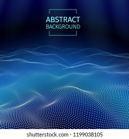 Underwater abstract background. Deep ocean effect. Blue sea illustration. Marine concept. Water waves energy. 3D futuristic structure. Dots connection on the blue background. Colorful backdrop. Vector