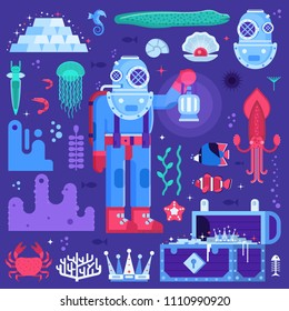 Underwater adventure set with retro diver, sea creatures and water treasures. Deep diving and sea exploration icons including gold chest, aqualanger and exotic seabed creatures.