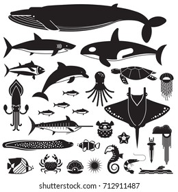 Underwater animals and sea creatures icons. Ocean and marine fishes and other aquatic life silhouette collection. Vector illustration of blue whale, devilfish, dolphin, orca, octopus, mollusks.