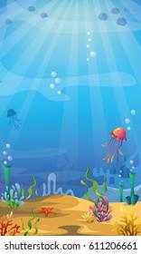 Underwater background with algae, corals, fish and jellyfish. Vector underwater seascape.
