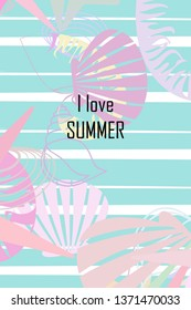 Underwater background. Cute colorful seashells and starfish. Summer design. Vector background