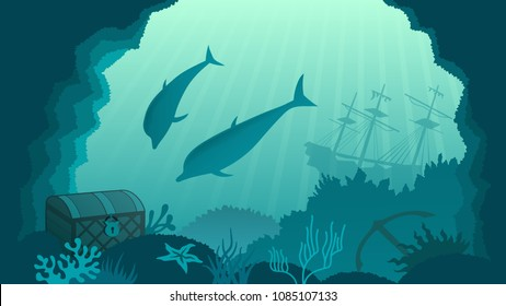 underwater background, dolphins near the treasure in the chest