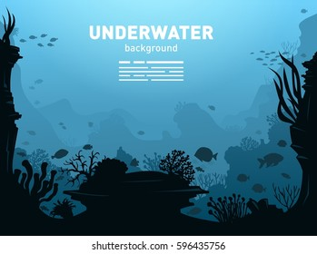 Underwater Background with Fishes, Sea plants and Coral Reefs