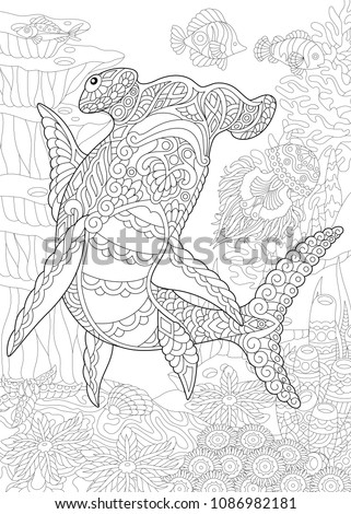 Underwater Background With Hammer Head Shark Coloring Page Adult Book Idea Antistress