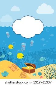Underwater background. Background with marine animals.