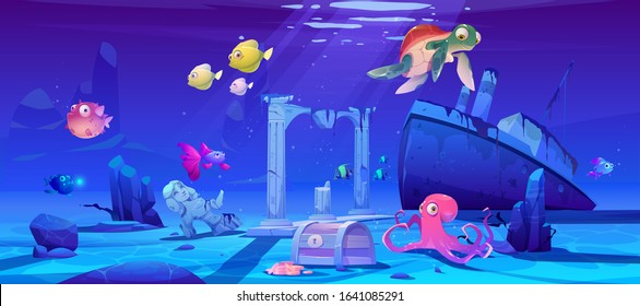 Underwater background with ocean fish, sunken ship and ruins. Vector cartoon of deep seafloor with marine wildlife, treasure chest and shipwrecked steamboat