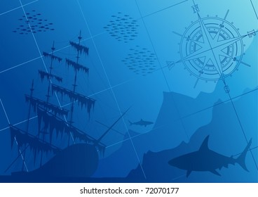 Underwater background with sharks, old ship and compass rose (vector)
