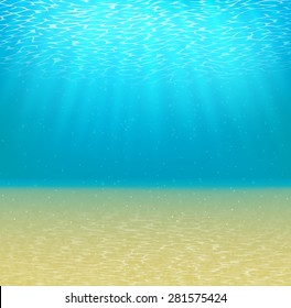 underwater background with sun and sandy bottom  vector illustration