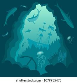 underwater background, sunken ship