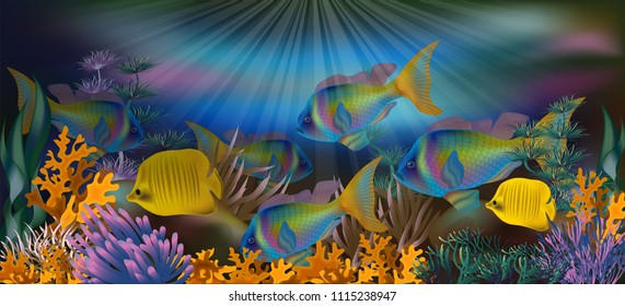 Fish underwater images stock photos vectors shutterstock underwater background with tropical fish vector illustration freerunsca Gallery