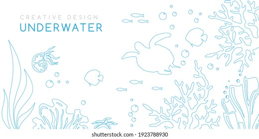 Underwater banner. Vector background in linear style with reef landscape. Turtle, corals, fish, polyps, shellfish and seaweeds and other sea wildlife.