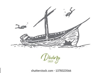 Underwater, boat, seabed, ship, diving concept. Hand drawn sunken ship on the seabed concept sketch. Isolated vector illustration.