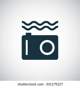 underwater camera icon, on white background