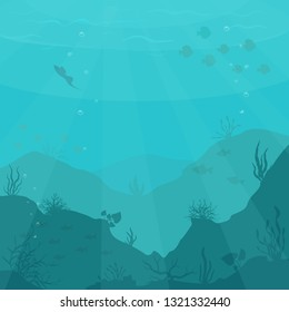 Underwater cartoon flat background with fish silhouette, seaweed, coral.