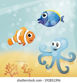 Underwater cartoon illustration with clownfish, unicorn fish and octopus.