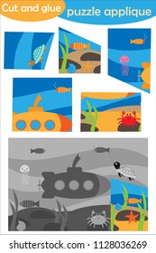 Underwater in cartoon style, education puzzle game for development of preschool children, use scissors and glue to create the applique, cut parts of the image and glue on paper, vector illustration