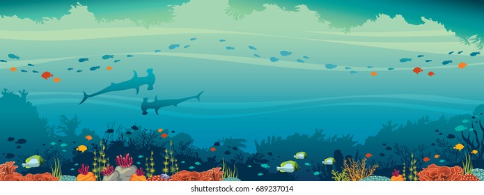 Underwater cave and marine wild life. Silhouette of two hammerhead shark, school of fish and coral reef on a blue sea background. Vector illustration.
