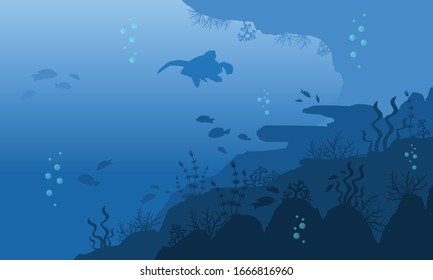 Underwater coral reef background with many illustration of fish and bubble