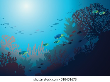 Underwater coral reef and school of fish. Vector seascape illustration.