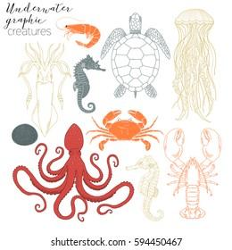 underwater creatures graphic collection
