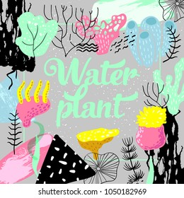 Underwater Design in Childish Style. Kids Background with Seaweeds, Corals and Abstract Elements for Covers, Decoration. Vector illustration