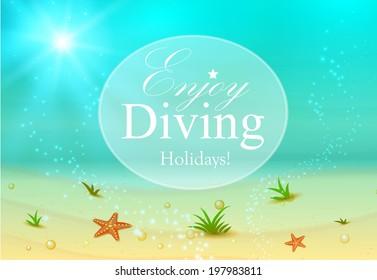 Underwater. Diving. Vector illustration