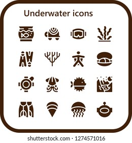 underwater icon set. 16 filled underwater icons. Simple modern icons about  - Aquarium, Turtle, Diving mask, Seaweed, Flippers, Coral, Wingsuit, Mussel, Squid, Puffer fish, Glacier