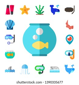 underwater icon set. 17 flat underwater icons.  Simple modern icons about  - flippers, seashell, snorkel, fishbowl, aquarium, octopus, periscope, shark, starfish, jellyfish, seaweed