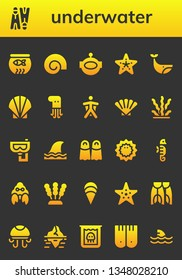 underwater icon set. 26 filled underwater icons.  Simple modern icons about  - Fish bowl, Flippers, Shell, Aqualung, Starfish, Whale, Seashell, Octopus, Wingsuit, Seaweed, Snorkel