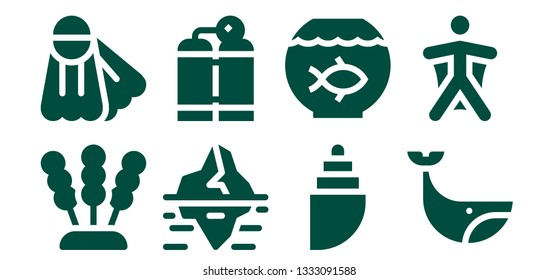 underwater icon set. 8 filled underwater icons.  Simple modern icons about  - Seaweed, Fins, Iceberg, Oxygen tank, Shell, Fish bowl, Whale, Wingsuit