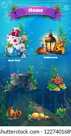 Underwater item set - snowman, cake, gifts, lamp, lantern, rock, stones, algae, amphora, bubbles. Bright image to create original video or web games graphic design screen savers