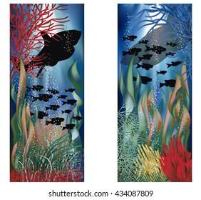 Underwater landscape banners set, vector illustration