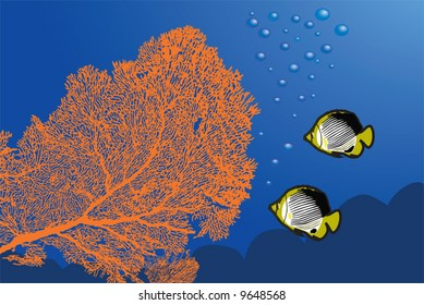 Underwater landscape with Giant Gorgonian Sea-fan and Butterflyfishes.