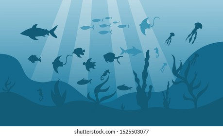 underwater landscape ocean fishes undersea background vector