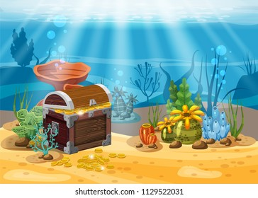 Underwater landscape. The ocean and the undersea world with different inhabitants, corals and pirate chest . Web and mobiles game design. Cartoon style, isolated