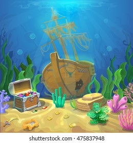 Underwater landscape. The ocean and the undersea world with different inhabitants, corals and pirate chest and sunken ship. Web and mobiles game design or screen savers.