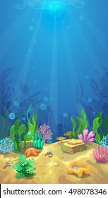 Underwater landscape. The ocean and the undersea world with different inhabitan, Mobile format vector marine life illustration