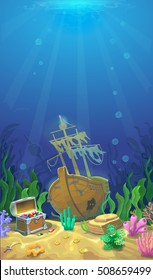Underwater landscape. The ocean, undersea world. pirate chest with treasures and sunken ship.