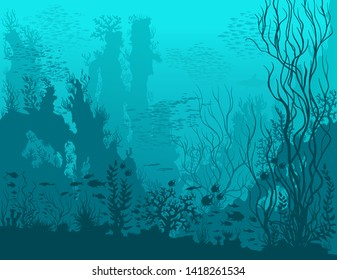 Underwater landscape with shark, fishes, coral reefs, huge rocks and see weeds. Blue tropical undersea world. Vector detail hand drawn illustration of sea-life.