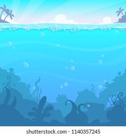 Underwater landscape, vector illasteration. Beautiful under sea location. Blue water background.