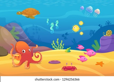 Underwater life. Aquarium cartoon fish ocean and sea animals vector background